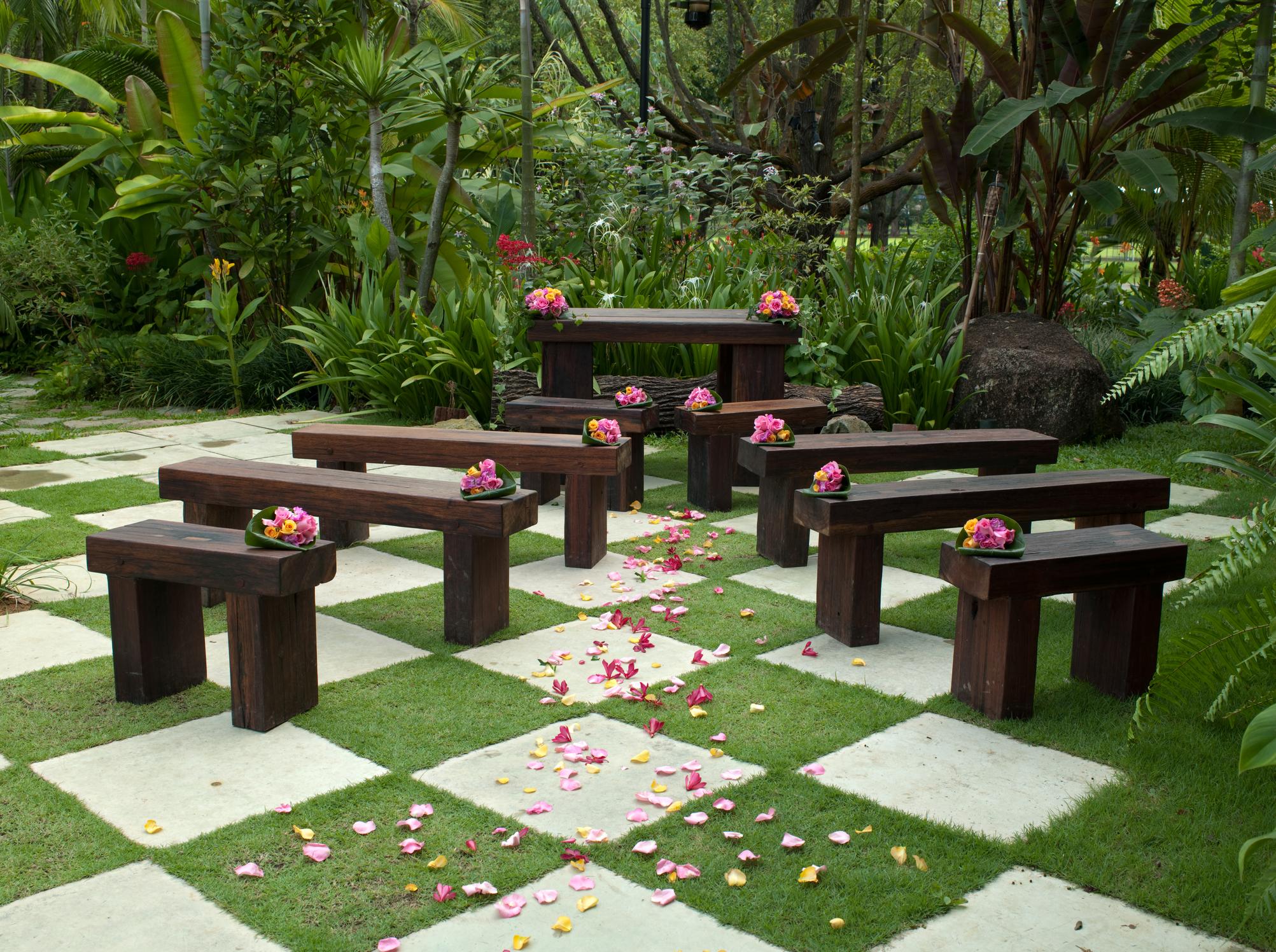 an outdoor garden wedding
