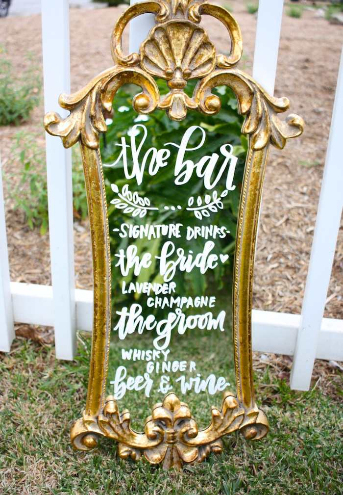 gold-wedding-mirror-sign-calligraphy-white-chalk-writing
