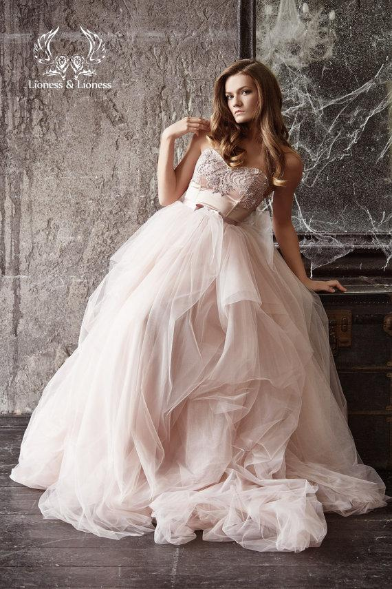 Blush Wedding Dress 1402 : Wedding dress blush bride pink