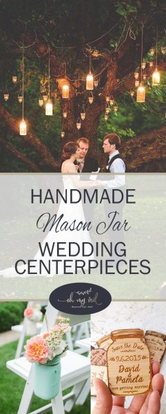 Handmade Mason Jar Wedding Centerpieces| DIY Wedding Centerpieces, Wedding Centerpiece Projects, How to Make Your Own Centerpieces, Make Your Own Wedding Centerpieces, Frugal Wedding Decor, Inexpensive Wedding Decor, Popular Pin