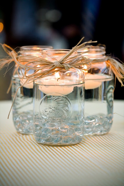 Handmade Mason Jar Wedding Centerpieces| DIY Wedding Centerpieces, Wedding Centerpiece Projects, How to Make Your Own Centerpieces, Make Your Own Wedding Centerpieces, Frugal Wedding Decor, Inexpensive Wedding Decor, Popular Pin