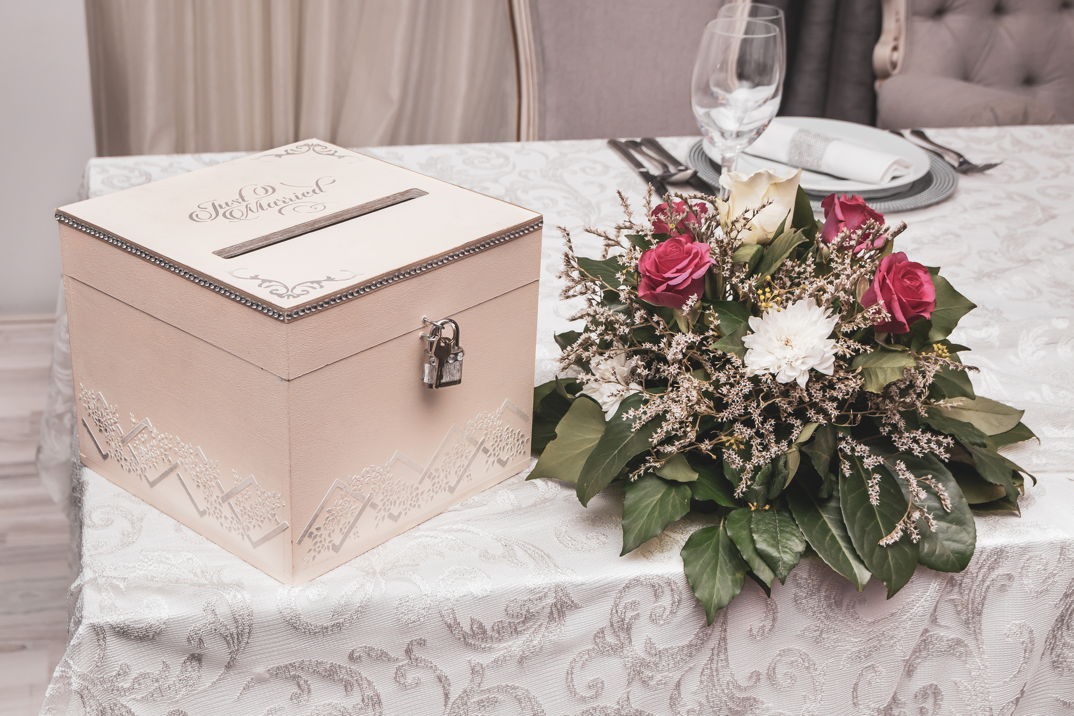 box for gifts cards and or money at a reception