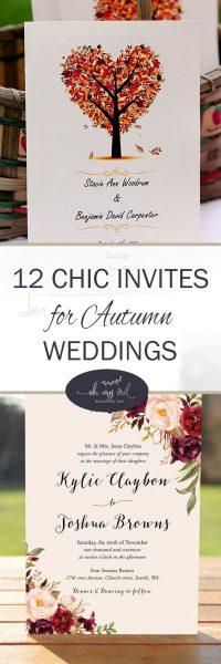12 Chic Invites for Autumn Weddings | Wedding Invitations, Autumn Wedding, Autumn Wedding Invitations, Fall Wedding, Fall Wedding Invitations, Fall Wedding Planning, Wedding Planning, DIY Wedding Invitations