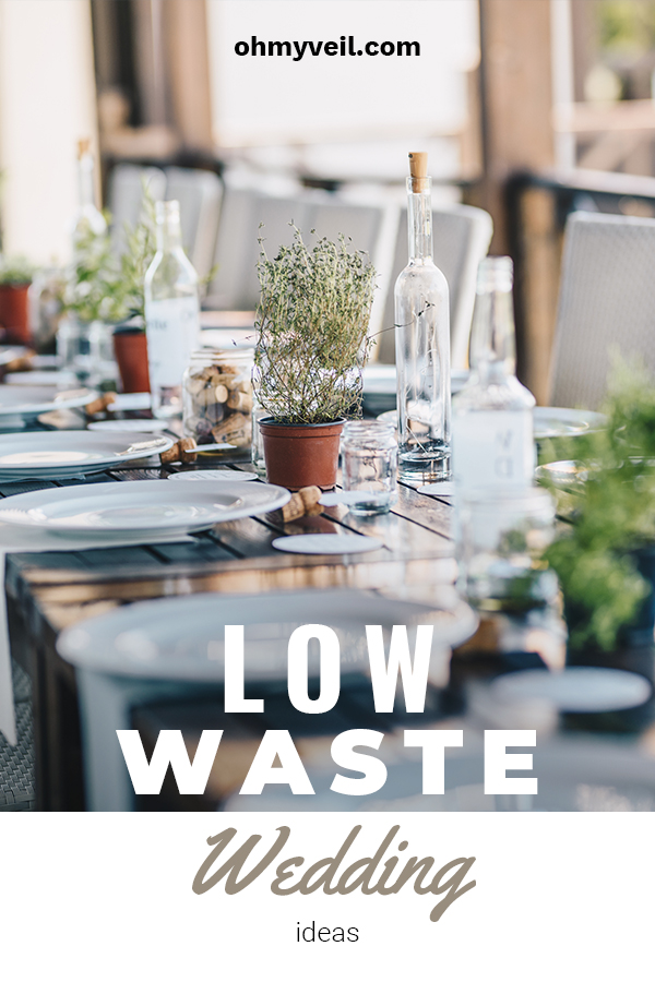 "Low waste weddings are definitely not a fad. In this environmentally conscious world it is good to know that there are options for the bride and groom who care about the amount of waste we are putting into our landfills. For more of these awesome wedding ideas, keep on reading. Don't ""WASTE"" another minute with your typical wedding ideas. #lowwasteweddings #ecofriendlyweddings"