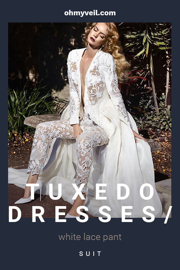When it comes to your wedding day, you should wear what you want. Maybe you like to do something a little outside of norm. If so, we are showing you about a new trend that is taking over bridal shops. We are talking about tuxedo dresses and white lace pant suits. Say no to the dress with a pantsuit, or make your dress more like a tuxedo. Either way, you will definitely look beautiful and more importantly feel comfortable. #weddingtrends #weddingfashion #optionsforthebride