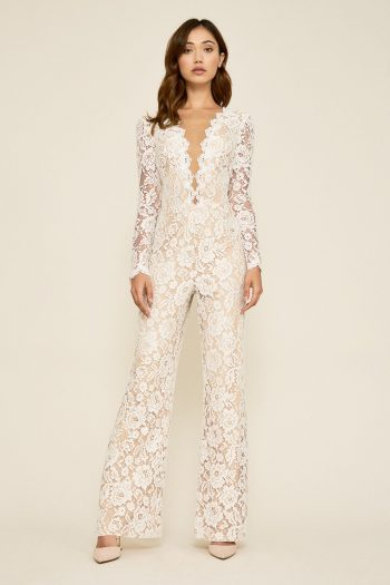 Are you looking for something a little bit different and definitely ultra-chic? Tuxedo dresses or a white lace pant suit is your answer! This white lace pant suit will be a hit with all of your friends and family!