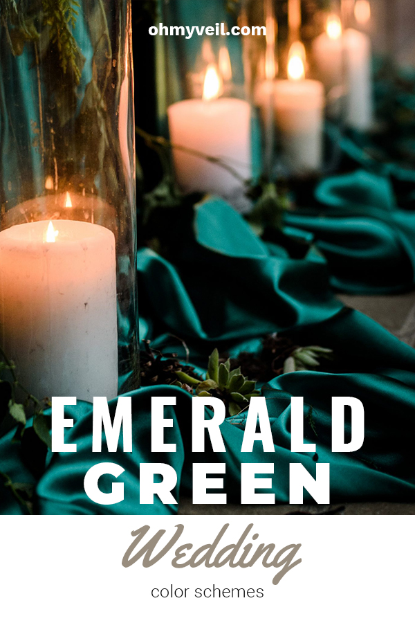One of the hottest wedding colors in emerald green. It's bold and beautiful! If you are a fan of green, or just want to stay away from the traditional color schemes, read on for awesome ideas. We've included tips for tablescapes, dresses, decor and more. Read on for more wedding planning tips. #emeraldgreenweddingscheme #weddingcolors #weddingplanning