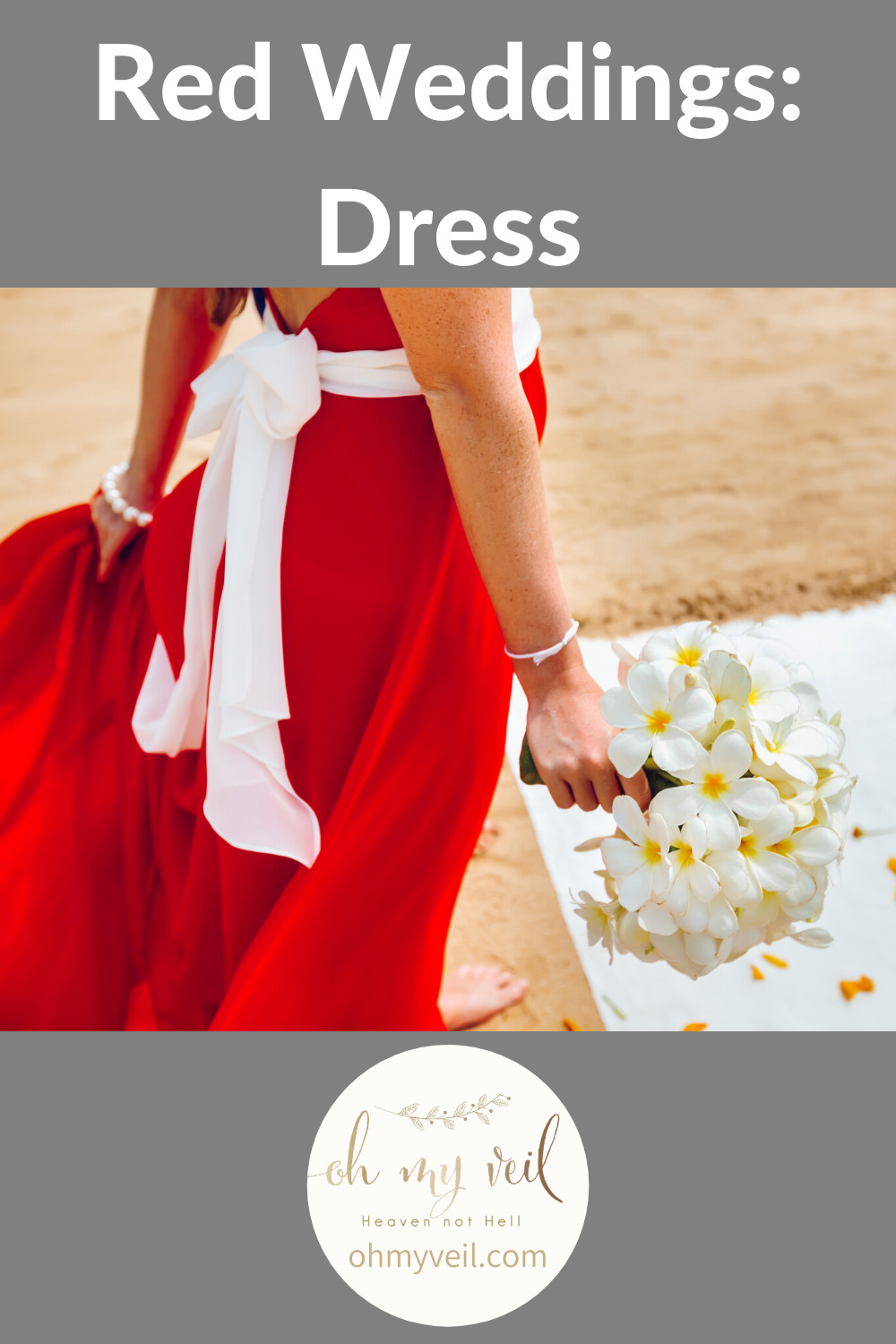 If you're wanting to have a red wedding dress to match your red wedding theme, it can be tricky! Luckily for you, I've compiled a list of everything you need to throw a perfect red wedding. Check it out! #redweddings #redweddingstheme #redweddingsdress #redweddingscake #redweddingsideas #ohmyveilblog